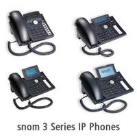 Image shows the snom 3 series IP phones