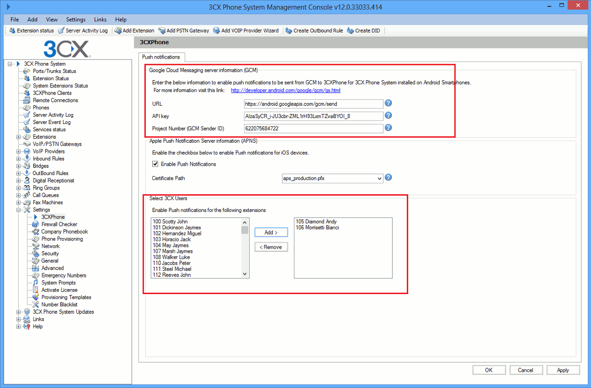 After you log in the 3CX Management Console go to Settings, then 3CXPhone and fill in the 'API Key' and 'Project Number' fields with the values that you noted in steps 3 and 7. Then,select which extensions will have Push notifications enabled and press apply and re-provision your smartphones.
