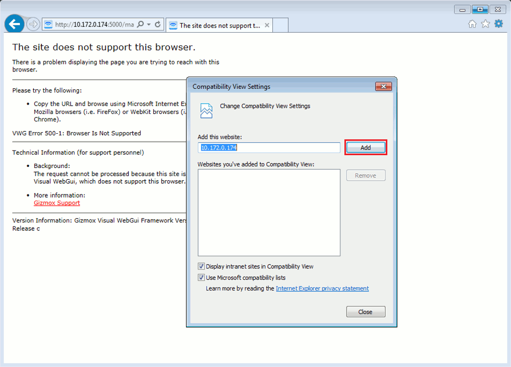 This image shows where to go and Click on Add to add the 3CX Management Console to the Compatibility View list