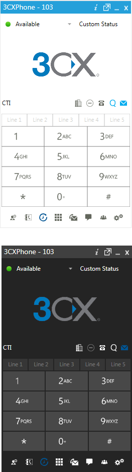 Image of the new 3CXPhone for Windows client themes