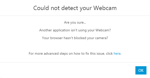 WebMeeting Camera Not Found
