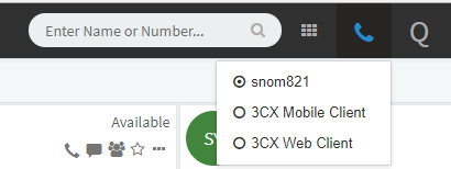 Choose which phone you want to use from the 3CX web phone