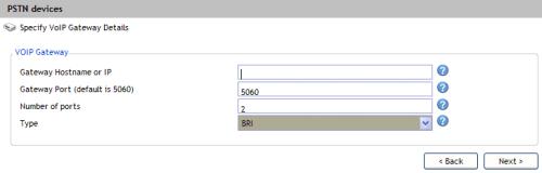 Specify VoIP Gateway Details