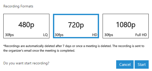 Record in different definitions with 3CX web conferencing