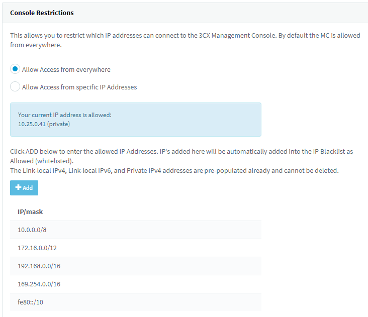 Restrict your management console access based on IP Address