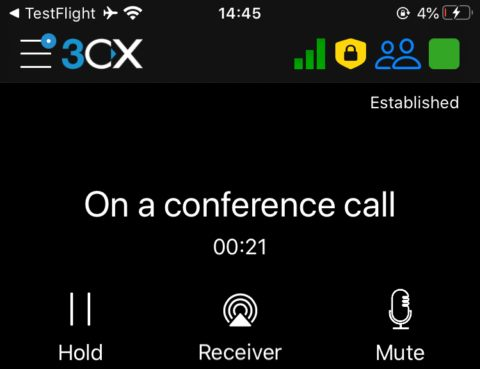 Visual voicemail indicator in the new 3CX iOS Beta.
