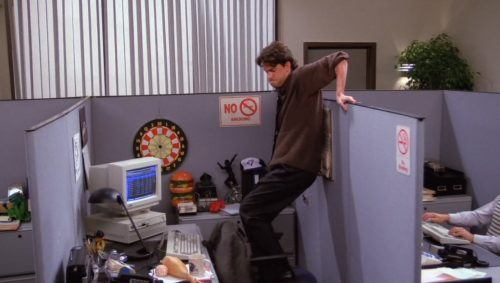 chandler in an office cubicle