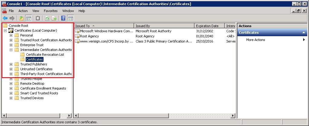 Certificates MMC