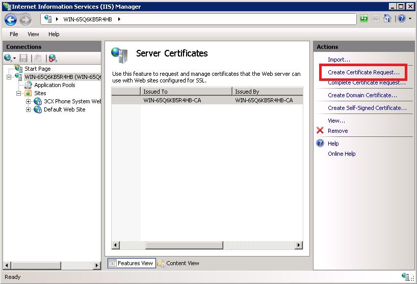 Create a certificate request in IIS Server