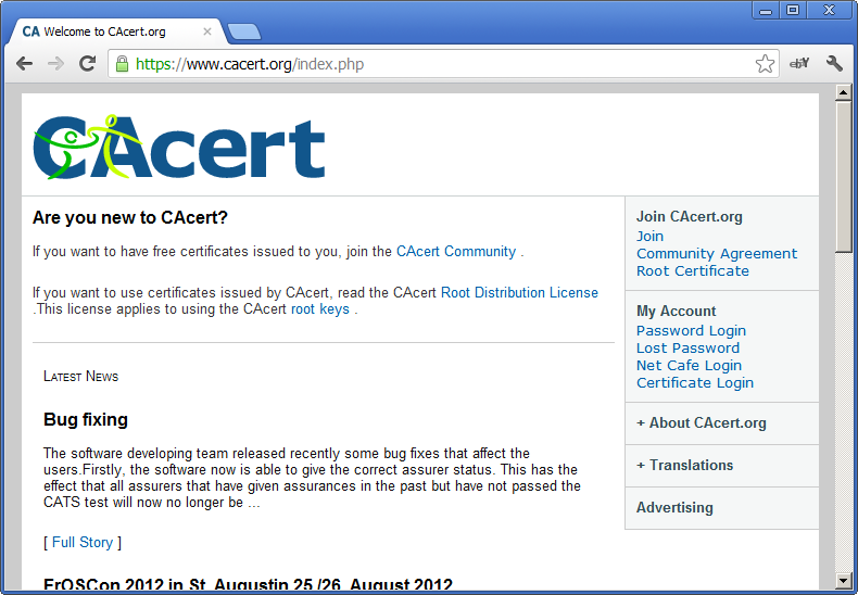 CAcert website