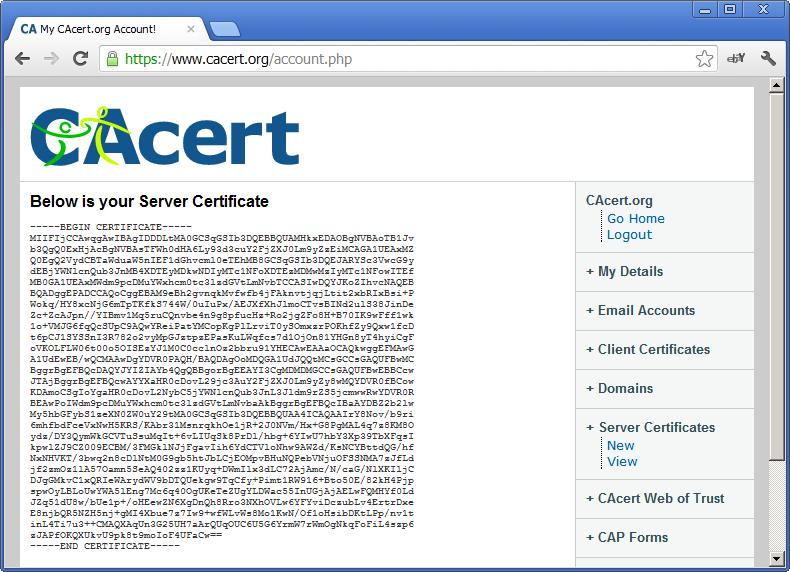 CAcert Server Certificate