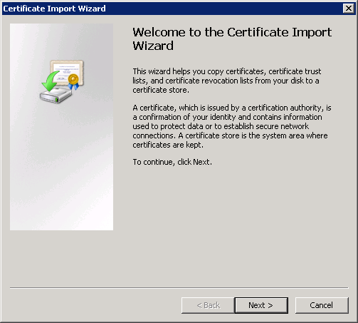 Import Root CAcert Certificate
