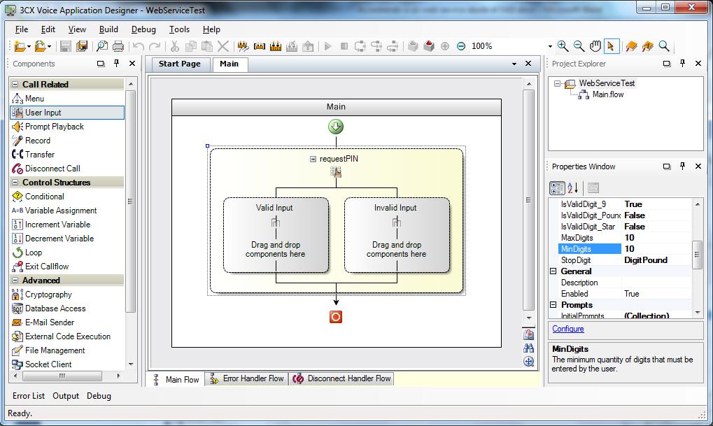 3CX Phone System VAD Web Service Test Screenshot