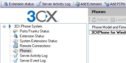 Management Console of 3CX Phone System for Windows