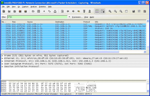 How can I view SIP traffic with the Wireshark Network